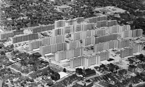 The Pruitt-Igoe public housing complex in St Louis, shortly after its completion in 1956. Photograph: Bettmann/Corbis